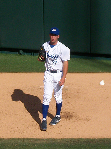 Danny Duffy of the Omaha Storm Chasers gets ready in the Royals bullpen during the futures game.