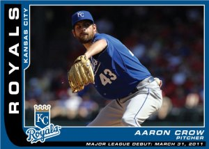 Major League Debut custom card Aaron Crow of the Royals