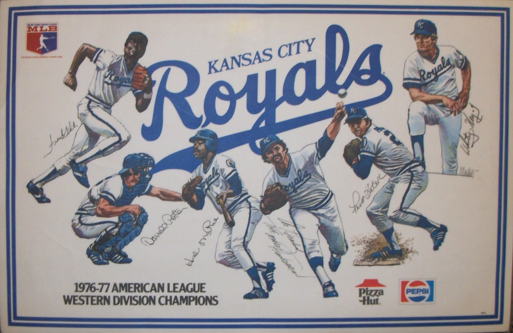 Kansas City Royals placemat: left to right: Frank White, Darrell Porter, Hal McRae, Al Hrabosky, Fred Patek, Whitey Herzog. All drawings by John Boyd Martin.