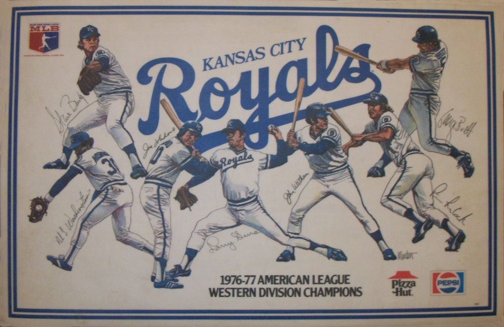 Kansas City Royals placemat: left to right: Steve Busby, UL Washington, Joe LaHoud, Larry Gura, John Wathan, Pete LaCock, George Brett