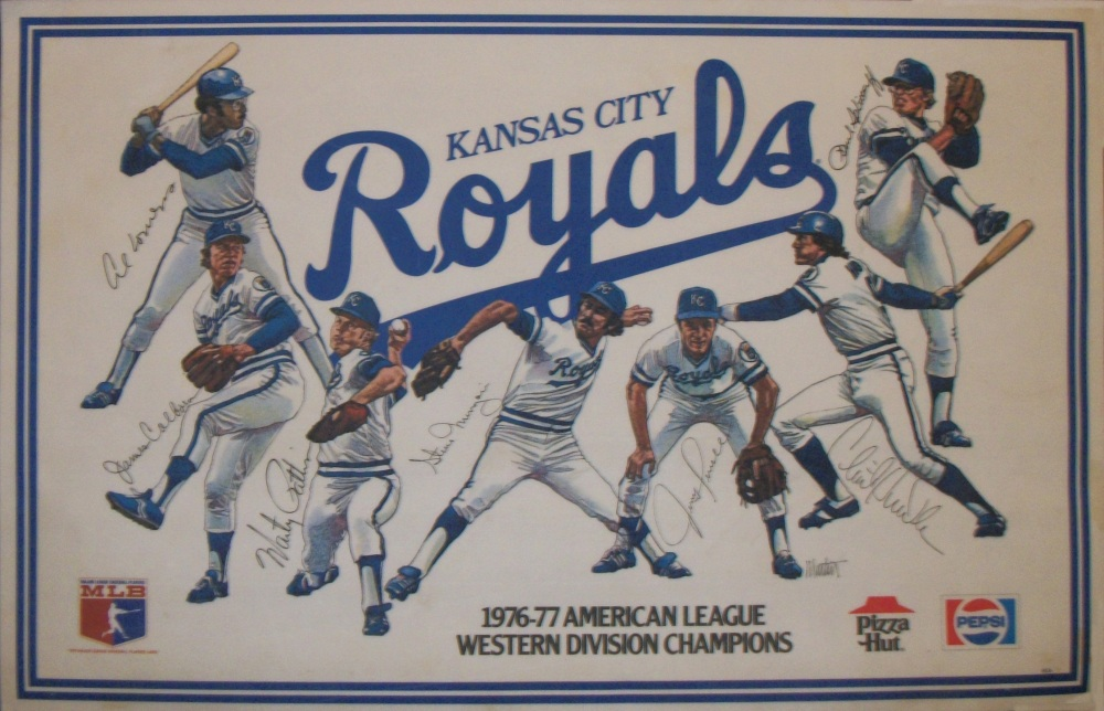 Kansas City Royals placemats; left to right; Al Cowens, Jim Colborn, Marty Pattin, Steve Mingori, Jerry Terrell, Clint Hurdle, Paul Splittorff