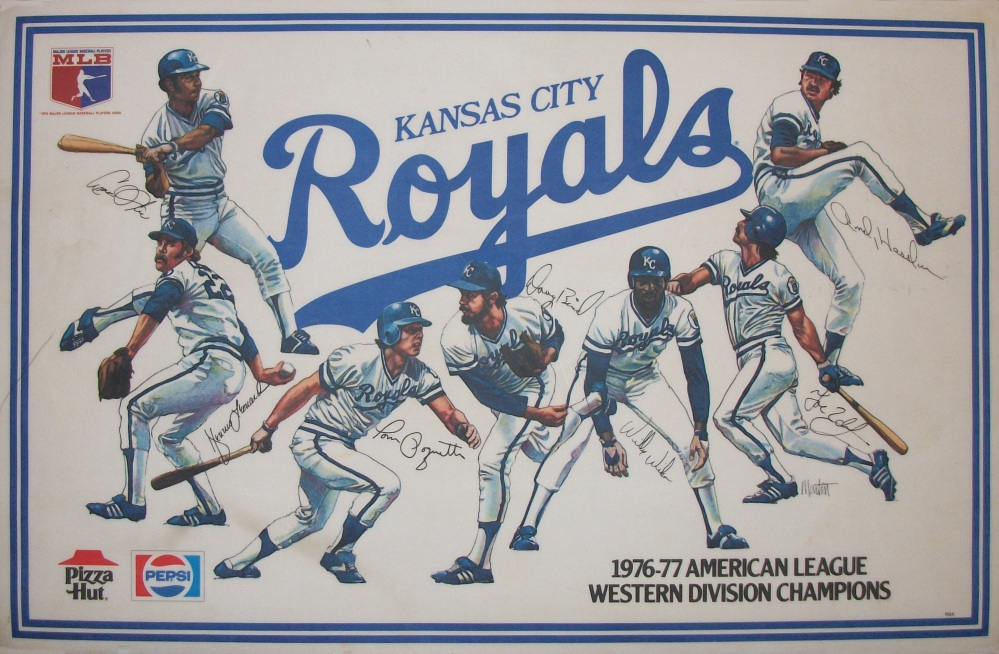 Royals Placemats; left to right; Amos Otis, Dennis Leonard, Tom Poquette, Doug Bird, Willie Wilson, Joe Zdeb, Andy Hassler