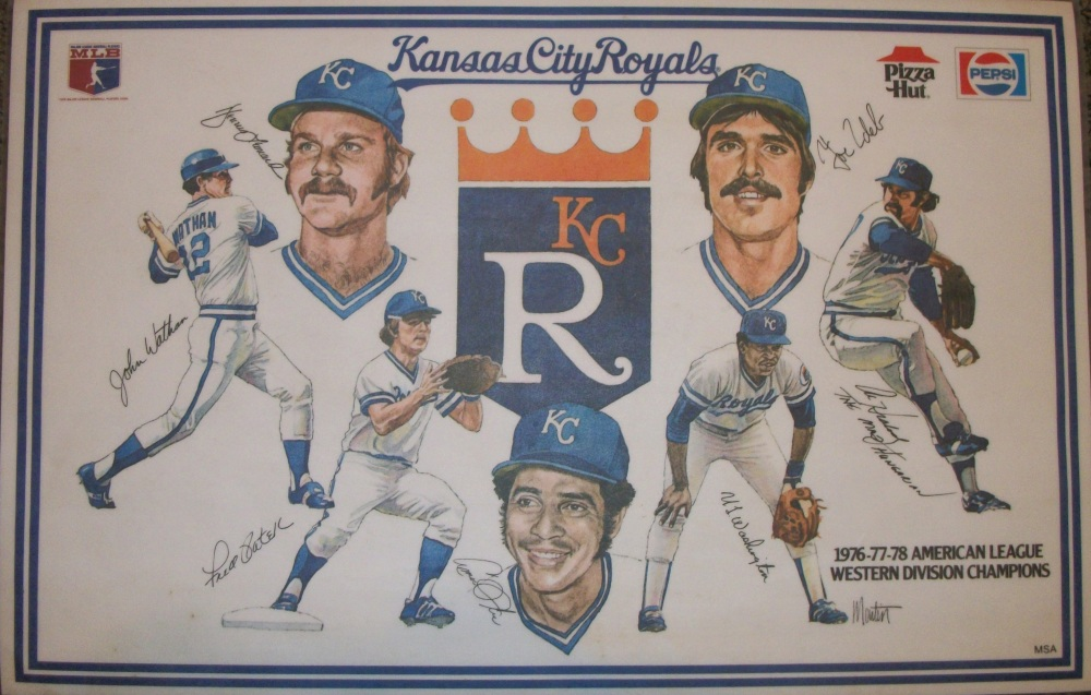 Kansas City Royals placemat; left to right; John Wathan, Dennis Leonard, Fred Patek, Amos Otis, UL Washington, Joe Zdeb, Al Hrabosky