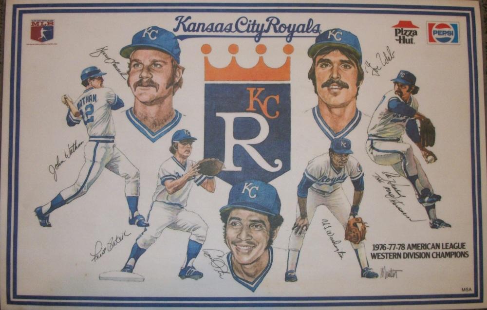 Kansas City Royals placemat; left to right; John Wathan, Dennis Leonard, Fred Patek, Amos Otis, UL Washington, Joe Zdeb, Al Hrabosky