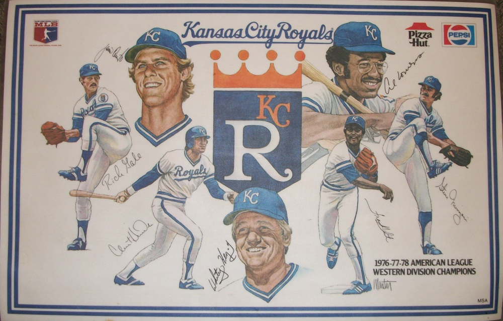 Kansas City Royals placemat; left to right; Rich Gale, Jamie Quirk, Clint Hurdle, Whitey Herzog, Frank White, Al Cowens, Steve Mingori