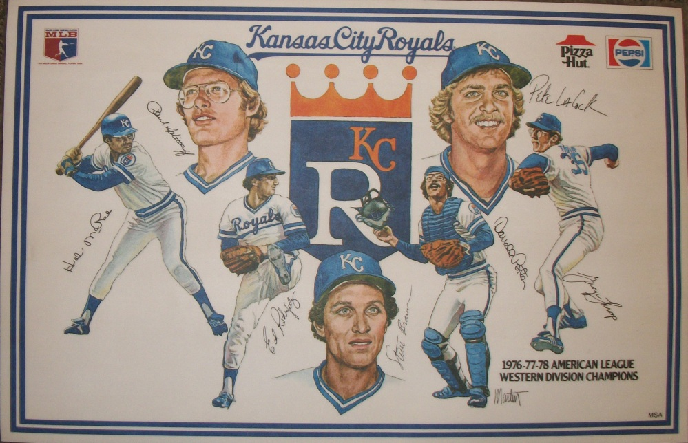 Kansas City Royals placemats; left to right; Hal McRae, Paul Splittorff, Ed Rodriguez, Steve Braun, Darrell Porter, Pete LaCock, George Thorp