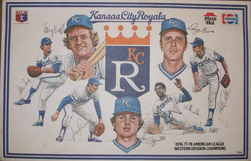 Kansas City Royals placemats; left to right; Steve Busby, George Brett, Jerry Terrell, Tom Poquette, Willie Wilson, Larry Gura, Marty Pattin
