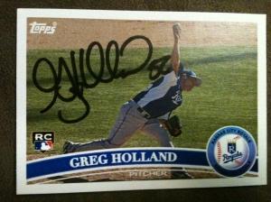 Autographed Greg Holland 2011 Topps custom card