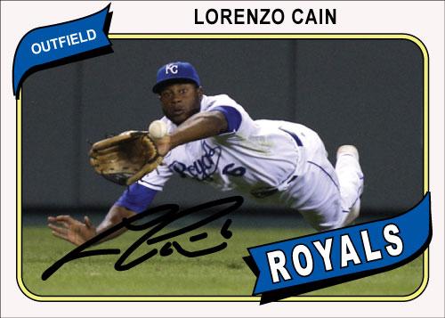 Lorenzo Cain 1980 Topps custom card