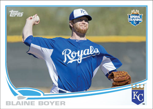 Blaine Boyer 2013 Topps Royals spring training custom card.