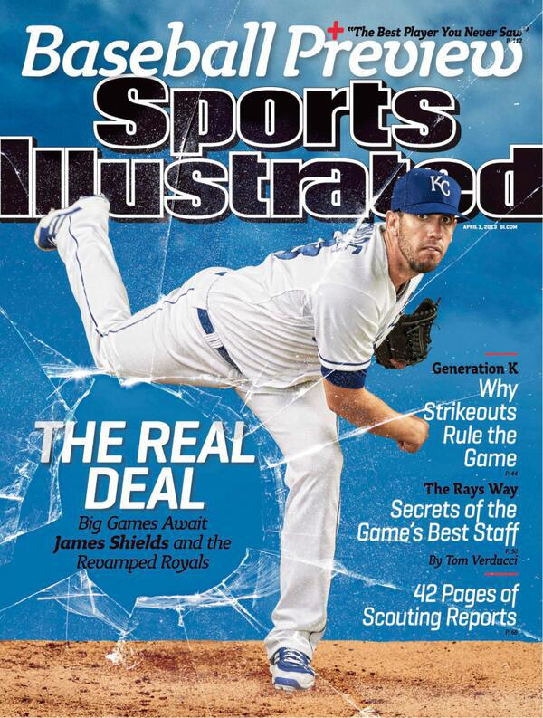 James Shields on the cover of the 2013 Sports Illustrated baseball preview issue.