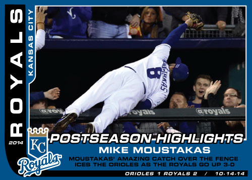 Mike Moustakas Postseason Highlights custom card for game 7 of the Royals playoff run.