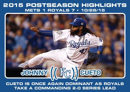 Johnny Cueto 2015 Royals postseason highlight card.