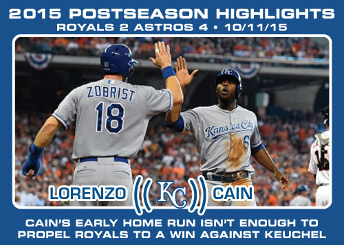 Lorenzo Cain 2015 Royals postseason highlight card.