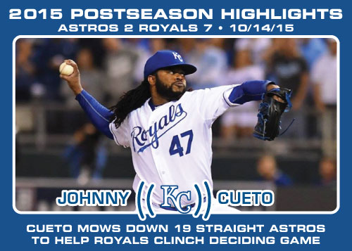 Johnny Cueto 2015 Royals postseason highlight card.