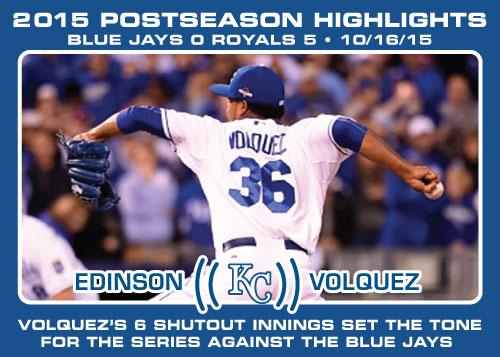 Edinson Volquez 2015 Royals postseason highlight card.