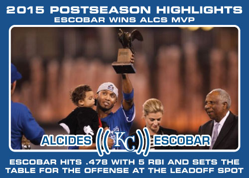 Alcides Escobar ALCS MVP 2015 Royals postseason highlight card.