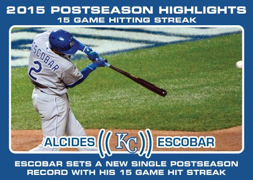 Alcides Escobar hitting streak 2015 Royals postseason highlight card.
