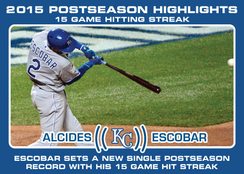 Alcides Escobar hitting streak 2015 Royals postseason highlight card.