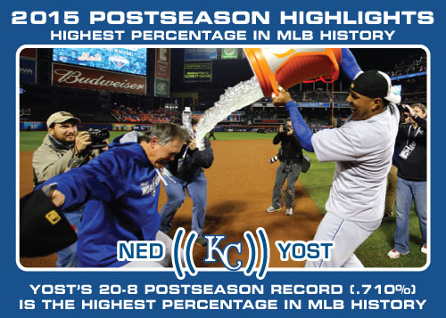 Ned Yost Postseason winning percentage Royals postseason highlight card.