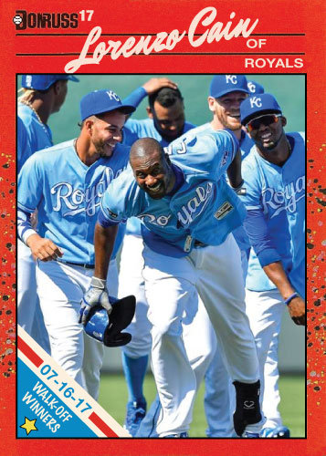 Lorenzo Cain Kansas City Royals walk-off winners custom card for 7/16/17