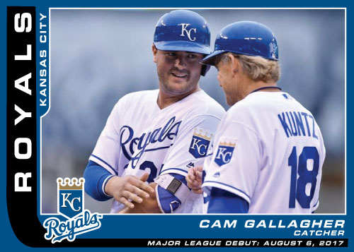 Kansas City Royals Major League debut custom card of catcher Cam Gallagher